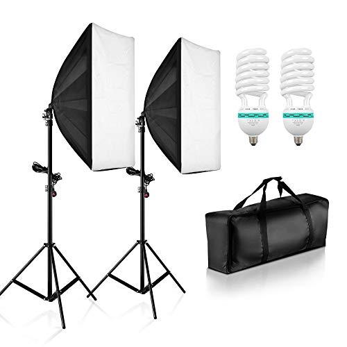 PHOTO MASTER Softbox Studio Set Fotografico Portatile, 1250W Lampade 2(50x70cm) Softbox Kit Luce...