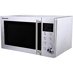 Sharp R28ST Mikrowelle / 800 W / 23 L / +1 Minute Funktion / silber / 8 Automatikprogramme / Drehknopf - und Touchpanel Bedinung