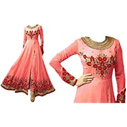 Abdur rahim Immitation jewelry & textile service Orange Plain/Solid Baluchari Georgette Dress Material With Dupatta