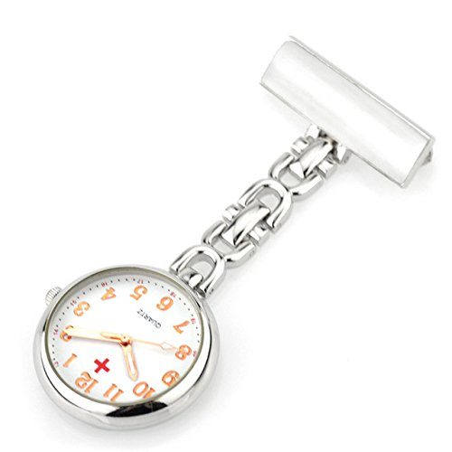 ShopyStore Analogue White Clip-on Fob Quartz Brooch Hanging Nurse Full Steel Medical Pocket Men's and Women's Watch
