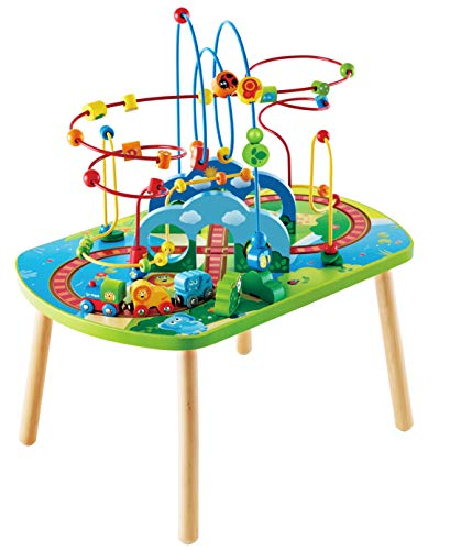 Hape International- Jungle Adventure Railway Table Tavolo Treno Multiattività Giungla, Multicolore,...
