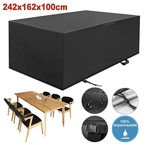 YISSVIC Copertura Tavolo Giardino Copertura Tavolo Esterno 242×162×100cm Copertura della Mobilia...