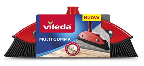 Vileda Escoba Multi Goma, para Interior y Exterior, Dura, DE Goma y Caucho, Apta para pelos de Animales y el Cabello, Rojo/Negro, 34x 13,5x 4cm