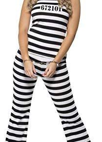 Smiffy's Smiffys-33723M Disfraz de prisionera Mona y Blanco, con Parte de Arriba, pantalón y gorr, Color Negro, M-EU Tamaño 40-42 33723M