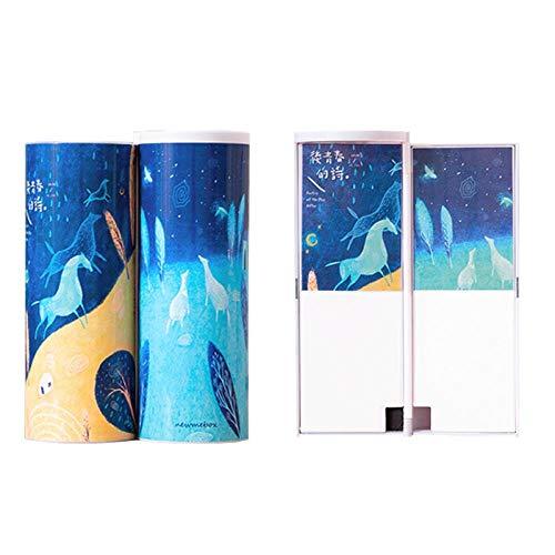iMyoung - Astuccio a doppio strato per penne e penne, con specchio, calcolatrice, lavagnetta, per...