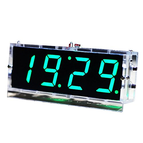 KKmoon 4 Cifre DIY(Do It Yourself) Kit Orologio LED Temperatura Data Ora Caso Trasparente