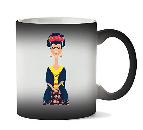 1GD Frida Kahlo Portrait Taza Calor Cambio De Color