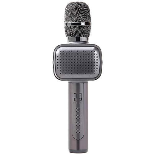 ZYG.GG Karaoke Micrófono Portátil Inalámbrico Bluetooth KTV con Luces de Colores LED Calidad de Sonido Potente. Apoyo USB, AUX Adecuado para Familia, Pop, Rock Fiesta,Gray