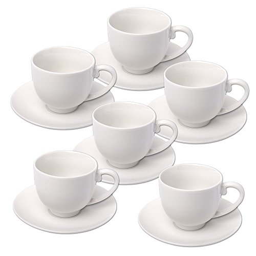 Alpina 871125285358Set TAZZINE da caffè con piattino, Ceramica, Bianco, 31.0x 17.5x 7.0cm,...