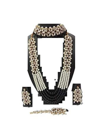 Apsara Art Jewellery Pearl,Stone Traditional Kundan Set Pearl Multi Layer Gold Plated Necklace with Maang Tikka and Earrings Jewellery Set for Women and Girls 2