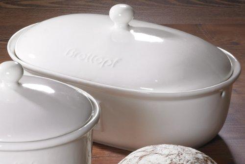 Brottopf in weiss - Brotkasten - oval - Steingut mit Belüftung