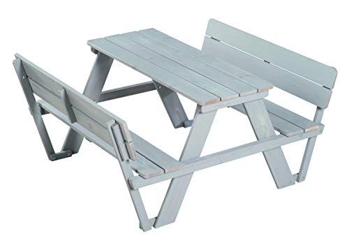 roba Kinder Outdoor Sitzgruppe \'Picknick for 4\' Outdoor + mit Rückenlehnen, wetterfeste Sitzgarnitur aus Massivholz für drinnen und draußen, besonders langlebig, grau lasiert