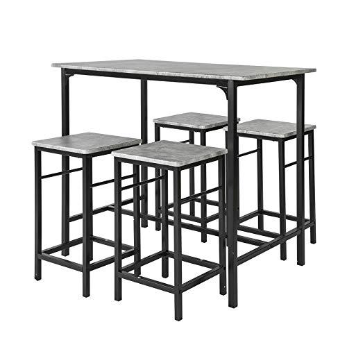 SoBuy Set 5 pezzi Tavolo con 4 sgabelli Mobile bar per casa stile industriale grigio,...