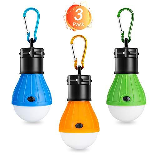 Winzwon Campinglampe, LED Camping Laterne, Tragbare Zeltlampe Laterne Glühbirne Set-Notlicht COB150 Lumen Wasserdicht Camping Licht für Camping, Abenteuer, Angeln, Garage, Stromausfall (3 PACK)