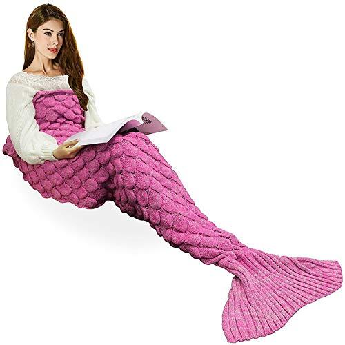 Coperta a coda di sirena fatta a mano, Ecrazybaby888 Coperta a maglia calda per tutte le stagioni...