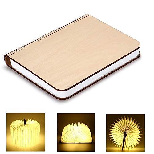 Lampada Libro GEEDIAR Lampada a Libro USB Ricaricabile Pieghevole in Legno Magnetico LED Luce in...