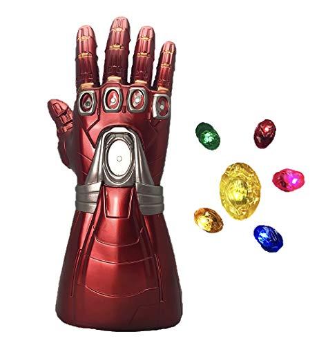 Yacn Gants Iron Man Gauntlet avec 6 pierres Infinity Led, Gants Avengers Endgame Iron Man illuminés (détachable)