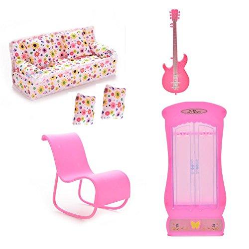 Xiton CoscosX Barbie Mobili Accessori di 1PC Couch, 2PCS Cuscini, 1PC Chitarra, 1PC Sedia a Dondolo (Rosa o Bianco Casuale), 1PC Armadio Guardaroba per Bambole Barbie