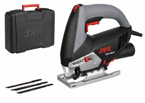 Skil 4381AD - Sierra de calar pendular con variador de velocidad (500 W, conexión para aspirador, soplador, 3 hojas de sierra de calar, maletín)