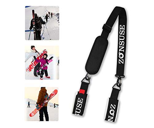 ZONSUSE Invernali Ski Tracolla,Regolabile Portatile Cinghie da Sci,Sci e Pole Strap,Facilmente...