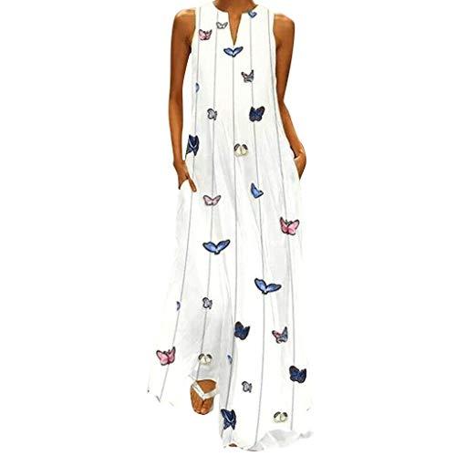 LMRYJQ-Vestido Estampado de Verano con Estampado de Mariposa a Rayas, sin Mangas, Diario Vintage de Mujer