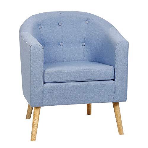 POPSPARK Sedia in Tessuto Poltrona Sedia da Pranzo con Braccioli e Schienale per Soggiorno Camera da Letto e Hotel (Blu Grigio)