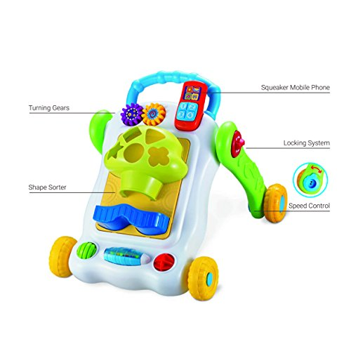 Baybee 2 in 1 Sit-to-Stand Learning Walker | Baby Smart Activity Walker | Toddler Toys for 1 Year Old | Push and Pull Toy Learning Walking Toys (Yellow)