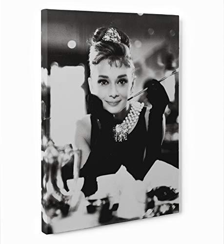 LaMAGLIERIA FINE Art - Quadro in Tela Canvas Audrey Hepburn Pronto da Appendere, 50cmx70cm