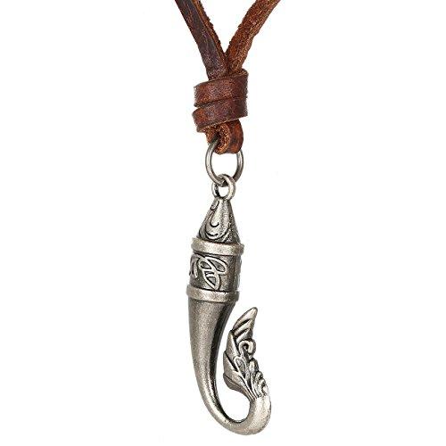 Collana di pelle DonDon uomo con amo da pesca in stile tribale e sacchetto di velluto