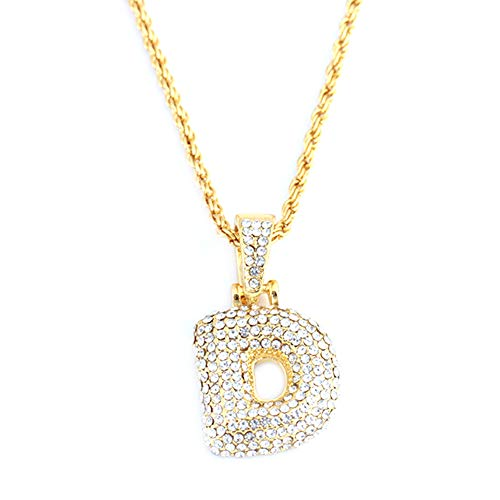 Childplaymate 26 Letters Necklaces Gold Chain Pendant Women Girl Fashion Jewelry Gifts (D