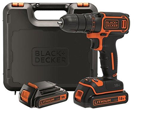 BLACK+DECKER BDCDC18KB-QW Perceuse visseuse sans fil - 18V - 30 nm - Lithium-ion - 2 batteries 1,5 Ah - Chargeur inclus - Livrée en coffret