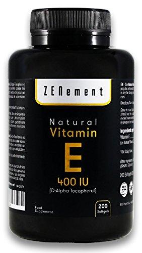 Vitamina E Naturale - 400 IU (D-alfa-tocoferolo), 200 Capsule Softgel   Antiossidante che protegge le cellule dallo stress ossidativo   Non OGM   di Zenement