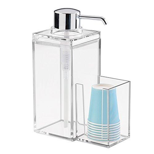 InterDesign Luci dispensador enjuague bucal |con soporte para vasos de plástico | Accesorio con capacidad hasta 1005 ml| Plástico cromado