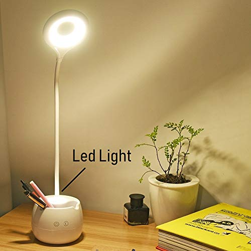 SaleOnTM Rechargeable LED Touch On/Off Switch Desk Table Lamp with Mobile Holder and LED Children Eye Protection Office Desk Light USB Charging Touch Dimmer (White)-868