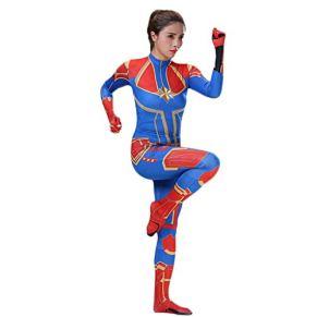 nihiug Sorpresa Capitán Cosplay Disfraz Avengers Película COS Ropa Mallas siamesas Capitán Marvel Halloween,Blue-L
