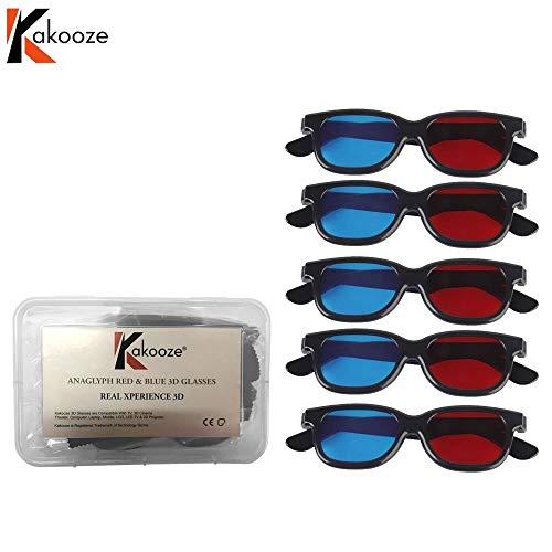 Kakooze Adult Plastics Red/Blue 3D Glasses Anaglyph Glasses,Black (5)