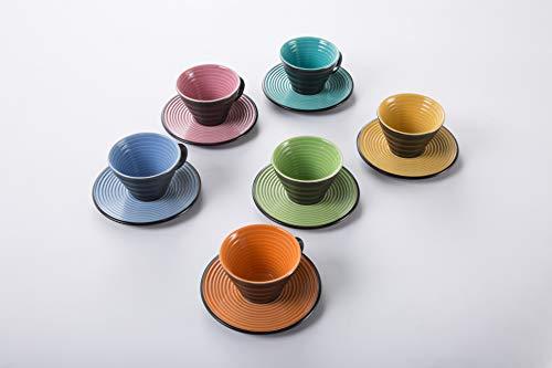 DEAGOURMET Nero&Colore Tazzine da caffè, Stoneware, Nero/Turchese, 0