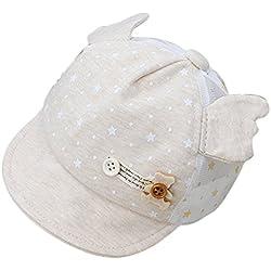 Kanggest Gorra de Malla de Algodón de Bebé de Verano con Pequeñas Alas Sombrero de Béisbol Bebé para Bebé de 3 a 12 Meses Protector Solar de Viaje de Playa - Amarillo Claro