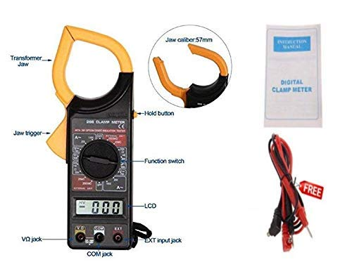Inditrust DT-266 Ac Dc Digital Clamp Multimeter Auto Ranging Amp Current Voltage Measurement Device, Ammeter Tong Tester with Accuracy Clamp meter
