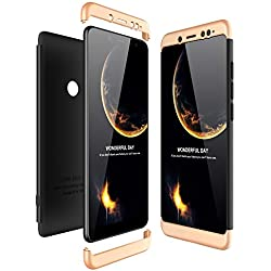 JMGoodstore Funda Compatible Xiaomi Redmi Note 5 Pro,Carcasa Redmi Note 5 Pro,360 Grados Integral Ambas Caras+Cristal Templado,3 in 1 Slim Dactilares Protectora Skin Caso Cover Oro+Negro