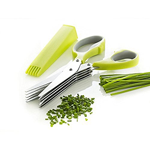 Tijeras de cocina multiusos para picar hierbas, 5 cuchillas y cubierta de acero inoxidable