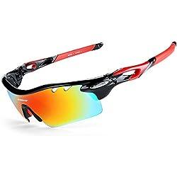 INBIKE Gafas De Sol Polarizadas para Ciclismo con 5 Lentes Intercambiables UV400 Y Montura De TR-90, Gafas para MTB Bicicleta Montaña 100% De Protección UV(Negro)