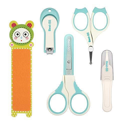 HOMEWINS 5-teiliges Baby Nagelpflege Set mit 2 Baby Nagelschere, Nagelknipser, Nagelfeile, Pinzette, Sicherheit Pflegeset für Babys Kinder (Grün)