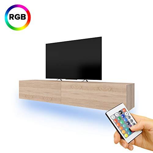 Selsey LANA - Mobile TV Sospeso/Luci RGB/Quercia / 200 cm