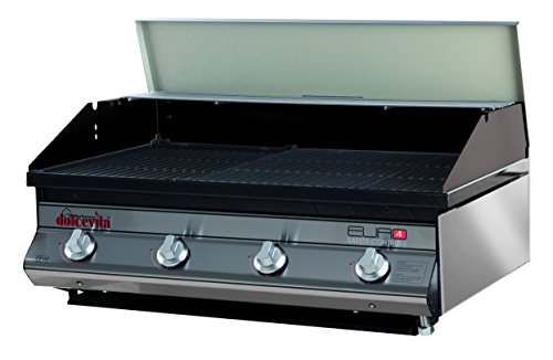 Dolcevita BBQ Euro 4 Barbecue a Gas con Valvola di Sicurezza da Incasso, Nero, 80x56x33 cm