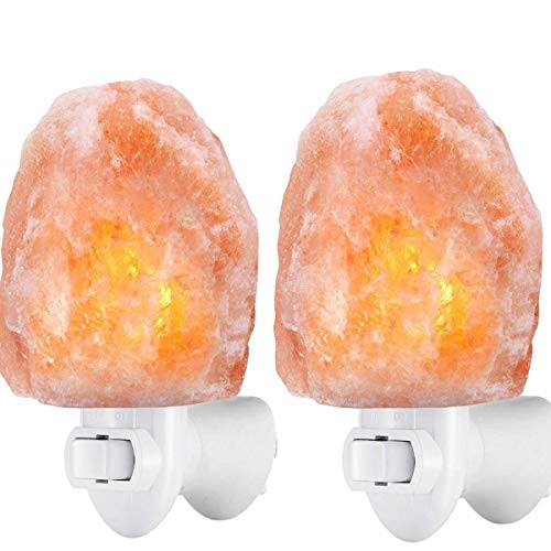 2 paquetes lámpara de sal Himalaya luz de sal con enchufe de pared sal natural bombilla incandescente incorporada Lámpara de la sala de noche natural de la lámpara de la cabecera del dormitorio