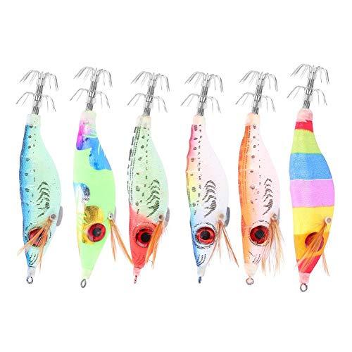 Huairdum Esca per Pesce, 6PCS 10cm Esca per Pesca Dura Esca per gamberetti in Legno Artificiale con Polpo Seppie Ganci Calamari Strumenti per trasportare Leggero