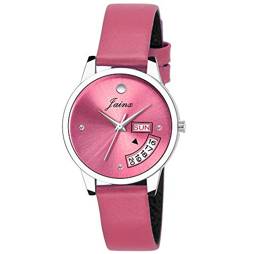 Jainx Day and Date Pink Analog Watch for Women & Girls - JW601