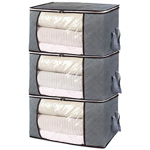 Housecraft 3 Pezzi Borsa Organizer Pieghevole per Vestiti scatole per armadio con Grande Finestra...