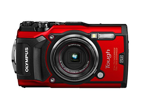 Olympus Tough TG-5 Digitalkamera (12 MP, 25-100mm 1:2,0 Objektiv, GPS, Manometer, Temperatursensor, Kompass) rot